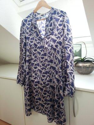 Robe trapèze blanc cassé-bleu