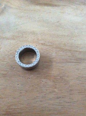 Unikat Edelstahl Ring mit Zirkonia Steinen rundum beidseitig