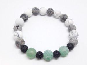 Unikat Edelstein Armband mit grünem und weiß grauen Achat Perlen