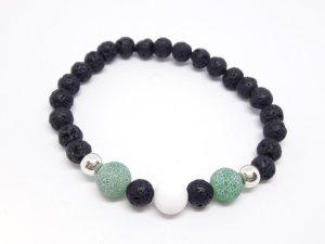 Unikat Edelstein Armband mit grünen Achat und schwarzen Lava Perlen