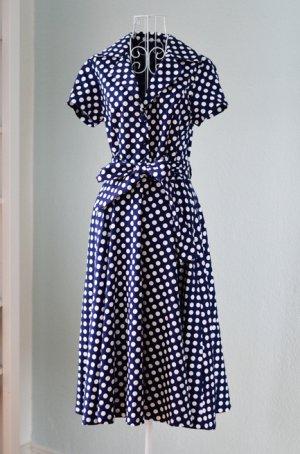 Unikat Einzelstück Vintage Kleid blau weiß gepunktet 38 NEU