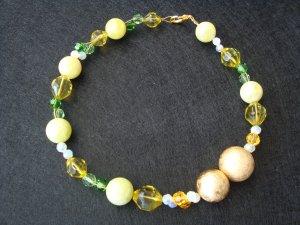 Collar estilo collier amarillo limón-blanco Material sintético