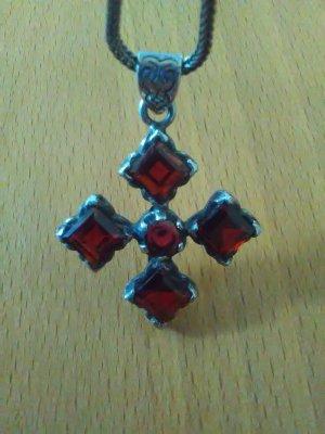 Unikat Kreuz mit Granat und Kette 925er Silber