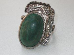 UNIKAT Malachit echt Edelstein grün Silber Vintage Cocktail Ring Statementring