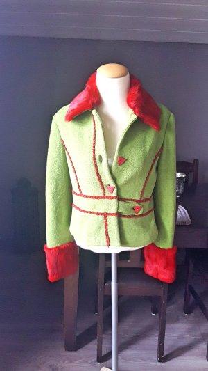 Unikat Pelzjacke Gr 36 - Einzelstück grün rot - Jacke mit Pelz - Echtpelz