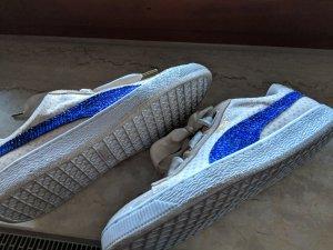 UNIKAT - Puma Basket Heart Denim Sneaker Gr. 42 mit Swarovskisteinchen aus den USA