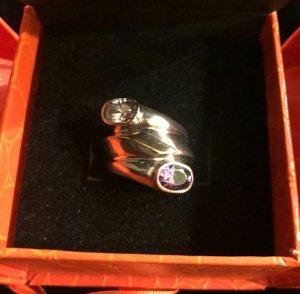 Unikat Ring Gold 585 925er Silber Amethyst Zirkon