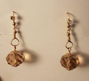 Unikat - Schöne Gold-Details-Ohrhänger mit Glasschliff-Perle (Selbstgemacht)