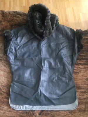 Unikat: selbstgenähter Kasak Kasack Poncho Jumper Lederoptik Fake Fur