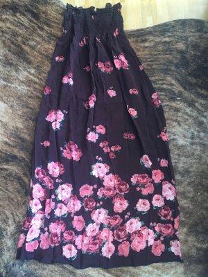 Unikat: selbstgenähtes Maxikleid Kleid Dress Bandeaukleid Rosen-Print Boho Hippie Folkore