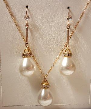 Unikat Set aus Ohrhänger und Kette mit ovaler Perle (Goldfarben)