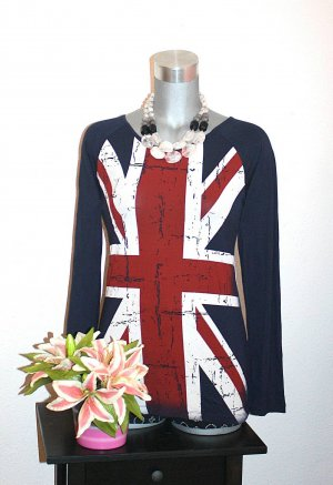Union Jack Long Pullover gr.38/40 Longshirt Dunkelblau Britain Flagge
