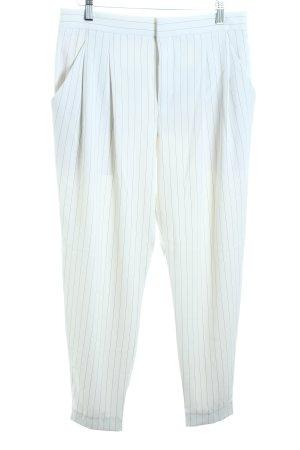 Uniqlo Bundfaltenhose weiß-schwarz Nadelstreifen Marine-Look