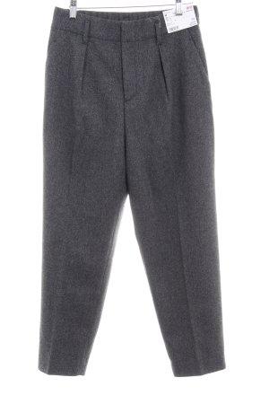 Uniqlo Pantalón de cintura alta negro-gris diseño de espiga