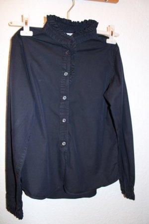 Uniqlo Camicetta con arricciature blu scuro Cotone