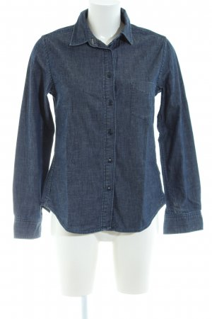 Uniqlo Jeansbluse blau Allover-Druck Casual-Look