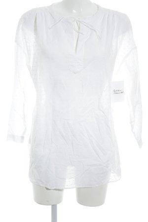 Uniqlo Langarm-Bluse weiß Punktemuster klassischer Stil