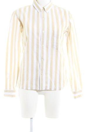 Uniqlo Langarmhemd weiß-creme Streifenmuster