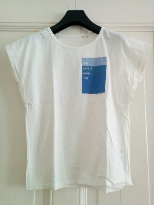 "Uniqlo Top Shirt ""Real Artists Wear This"" Weiß mit blauem Druck Gr. 36 / S"