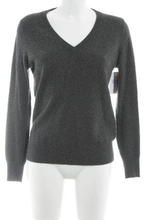 Uniqlo V-Ausschnitt-Pullover dunkelgrau meliert klassischer Stil