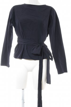 Uniqlo Wraparound Blouse dark blue business style