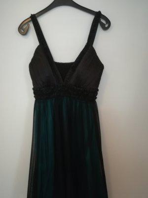 unique Kleid grün mit schwarzem Tüll