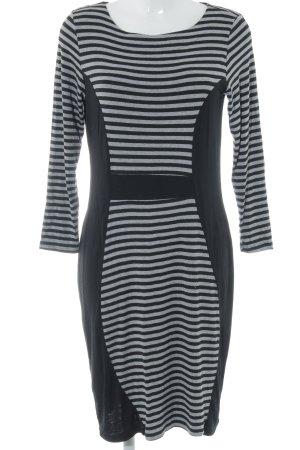 Unique Shirtkleid schwarz-grau Streifenmuster Casual-Look