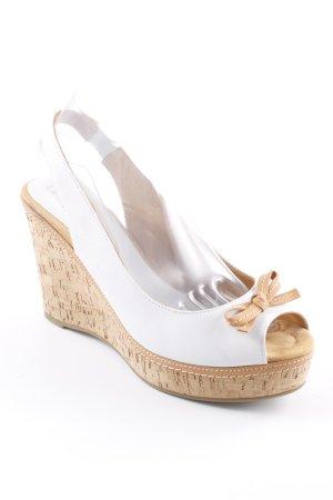 Unisa Keil-Pumps weiß-beige Romantik-Look