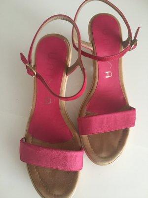Unisa Keilabsatz-Sandale, Gr. 38 in pink / Plateauschuhe / Riemchensandale