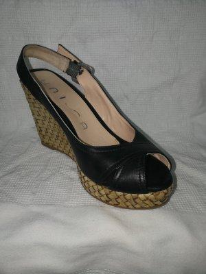 Unisa Wedge Sandals black-sand brown
