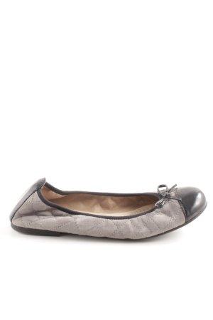 Unisa Ballerines en cuir verni gris clair-noir motif de courtepointe