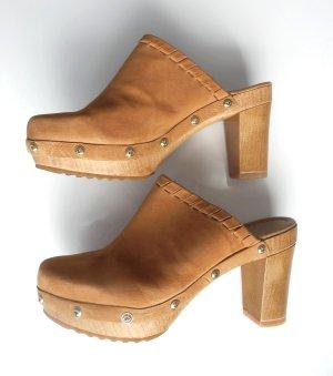 UNISA Leder CLOGS Pantolette Echtleder braun camel 37