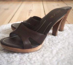 Unisa Leder Pantolette Sandalette Sandalen braun dunkelbraun Echtleder 38