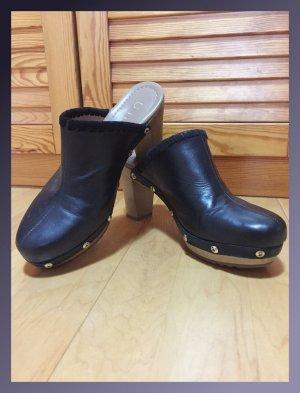 Unisa Heel Pantolettes black-beige leather
