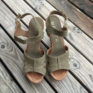 Unisa High-Heeled Sandals khaki-green grey