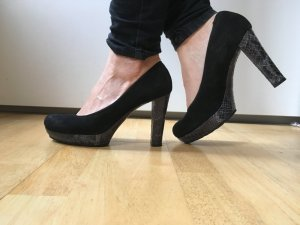 Unisa Platform Pumps black-silver-colored suede