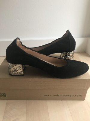 Unisa Loafers zwart Suede