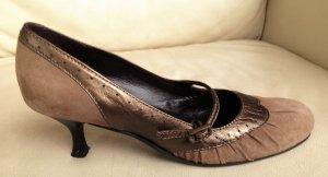 * UNISA *  PUMPS MARY JANES  LEDER WILDLEDER braun grau bronze Gr 38