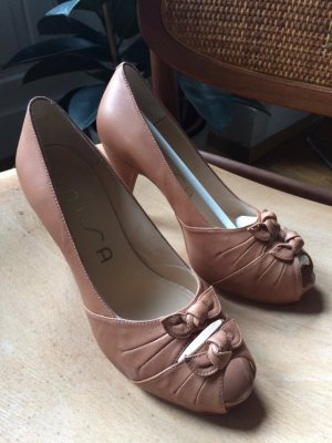 Unisa Peep Toe Pumps beige-camel leather