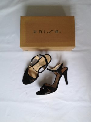 Unisa Strapped High-Heeled Sandals black leather