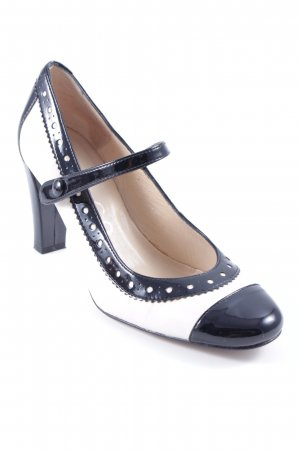 Unisa Strapped pumps black-cream leather-look