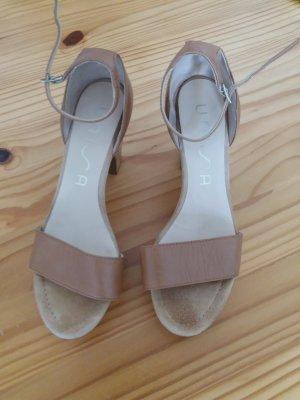 Unisa High-Heeled Sandals light brown-camel leather