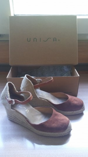 Unisa Wedge Sandals brown-cognac-coloured leather