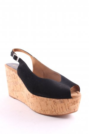 Unisa Wedge Sandals black-beige beach look