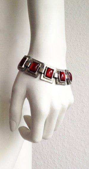 Unisex Vintage Armband Metall Rot Glas Erbstück