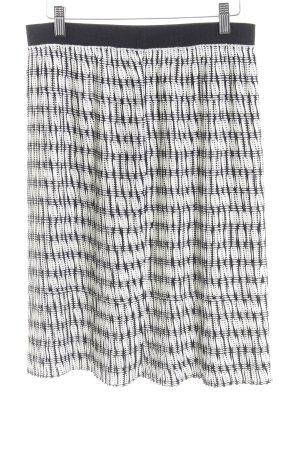 United Colors of Benetton Faltenrock weiß-schwarz Kunstmuster Elegant