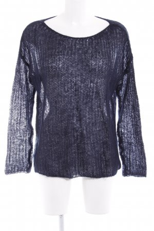United Colors of Benetton Coarse Knitted Sweater dark blue casual look