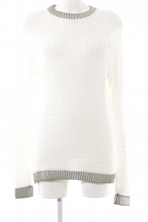 United Colors of Benetton Pull en crochet blanc cassé motif tricoté lâche
