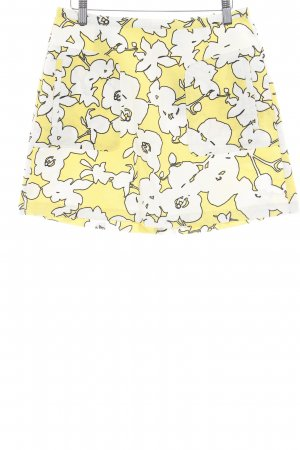 United Colors of Benetton High Waist Rock blassgelb-weiß florales Muster