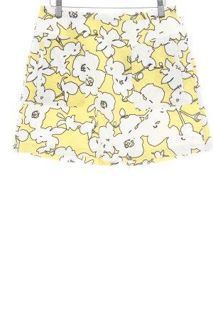 United Colors of Benetton High Waist Rock blassgelb-weiß florales Muster